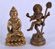 AN EARLY 20TH CENTURY SINO TIBETAN BRONZE BUDDHA together with another similar. Largest 3.5 cm high.