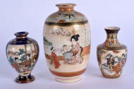 THREE EARLY 20TH CENTURY JAPANESE MEIJI PERIOD SATSUMA VASES. Largest 10 cm high. (3)