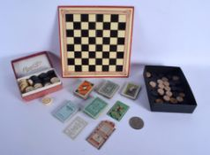 A RARE MILITARY ISSUED WWII GAMING BOX with hidden message counters etc. (qty)