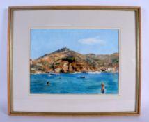 European School (20th Century) Watercolour, Mediterranean coast. Image 34 cm 26 cm.