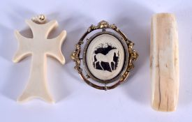 AN ANTIQUE CARVED IVORY HORSE BROOCH etc. (3)