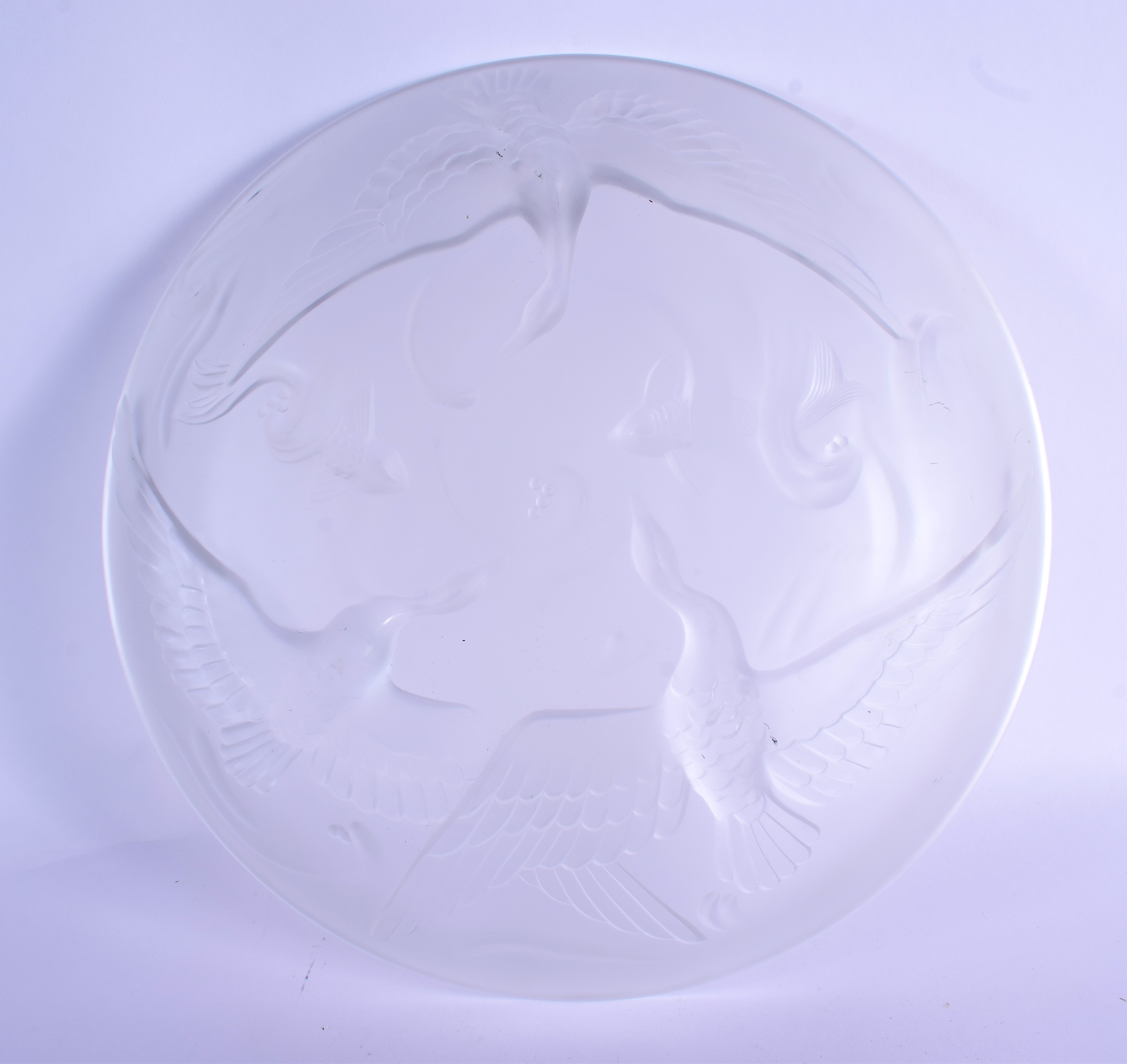 A LARGE FRENCH VERLYS MOLD LES CANARDS SAUVAGE GLASS DISH. 26 cm diameter. - Image 2 of 5