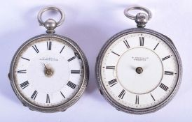 TWO ANTIQUE SILVER FOB WATCHES. (2)