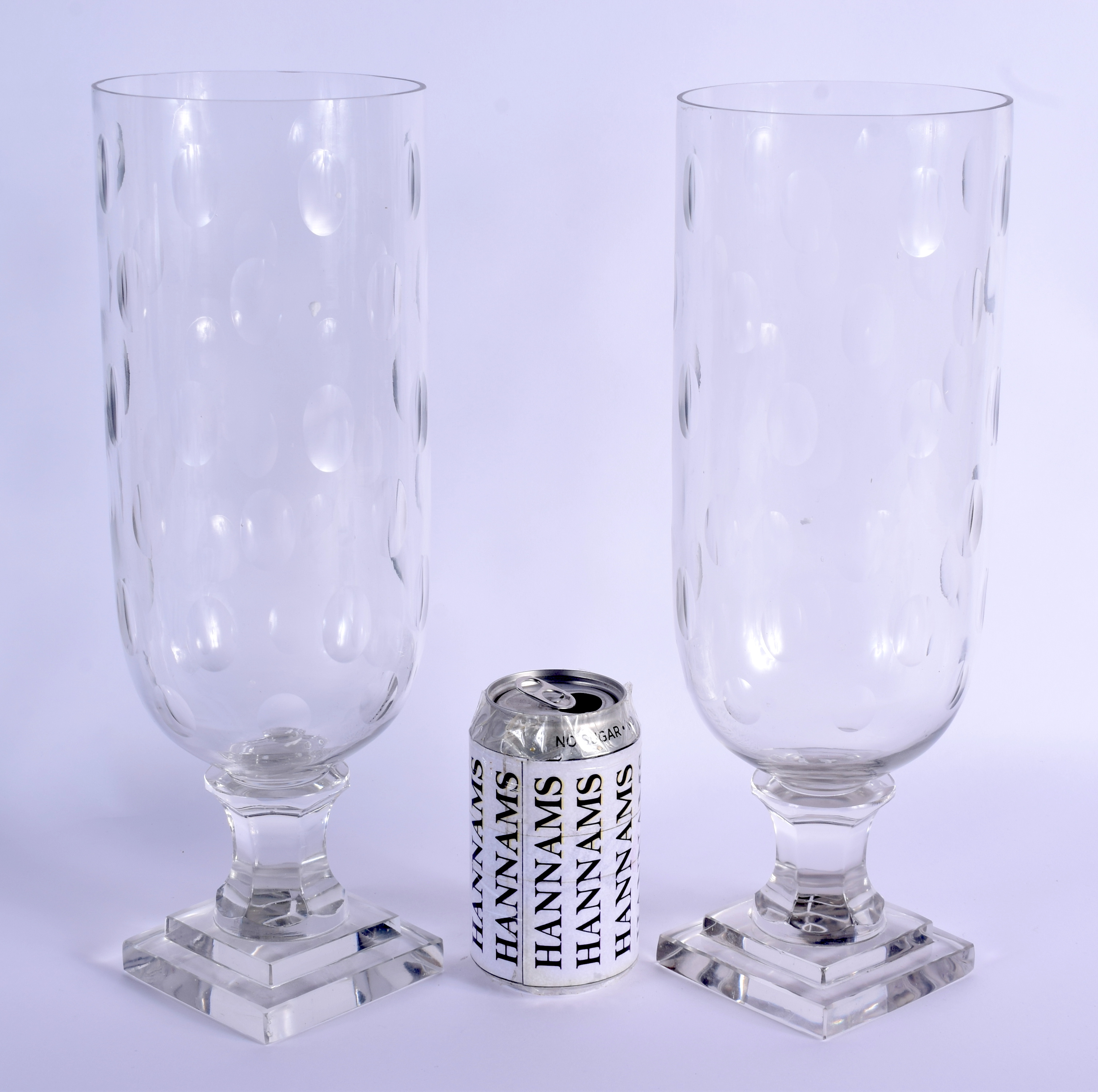 A PAIR OF EUROPEAN CELERY STORM STYLE GLASS VASES. 34 cm high.