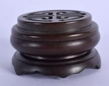 A CHINESE BRONZE CENSER ON STAND 20th Century. 5.5 cm wide.