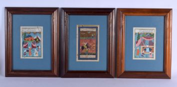 THREE EARLY 20TH CENTURY MIDDLE EASTERN PERSIAN ILLUMINATED MANUSCRIPTS. Image 18 cm x 12 cm.
