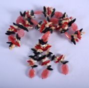A CHUNKY CONTINENTAL CORAL AND STONE NECKLACE. 90 cm long.