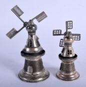 A PAIR OF CONTINENTAL SILVER WINDMILLS. 119 grams. 13 cm x 5.5 cm.