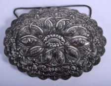 A LARGE CONTINENTAL OTTOMAN STYLE SILVER HANGING MIRROR decorated with flowers. 24 cm x 18 cm.