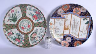 TWO LARGE 19TH CENTURY JAPANESE MEIJI PERIOD PORCELAIN CHARGERS. 48 cm wide. (2)