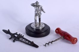 A 1930S CHROME FIGURE OF A LIFEBOATMAN together a C1875 American multi tool. (3)