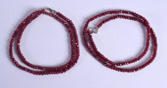 TWO RUBY NECKLACES. (2)