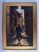 European School (20th Century) Oil on canvas, Peasant roaming, Image 50 cm x 35 cm.