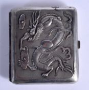 A 19TH CENTURY CHINESE EXPORT SILVER CIGARETTE CASE. 75 grams. 7.5 cm x 8 cm.