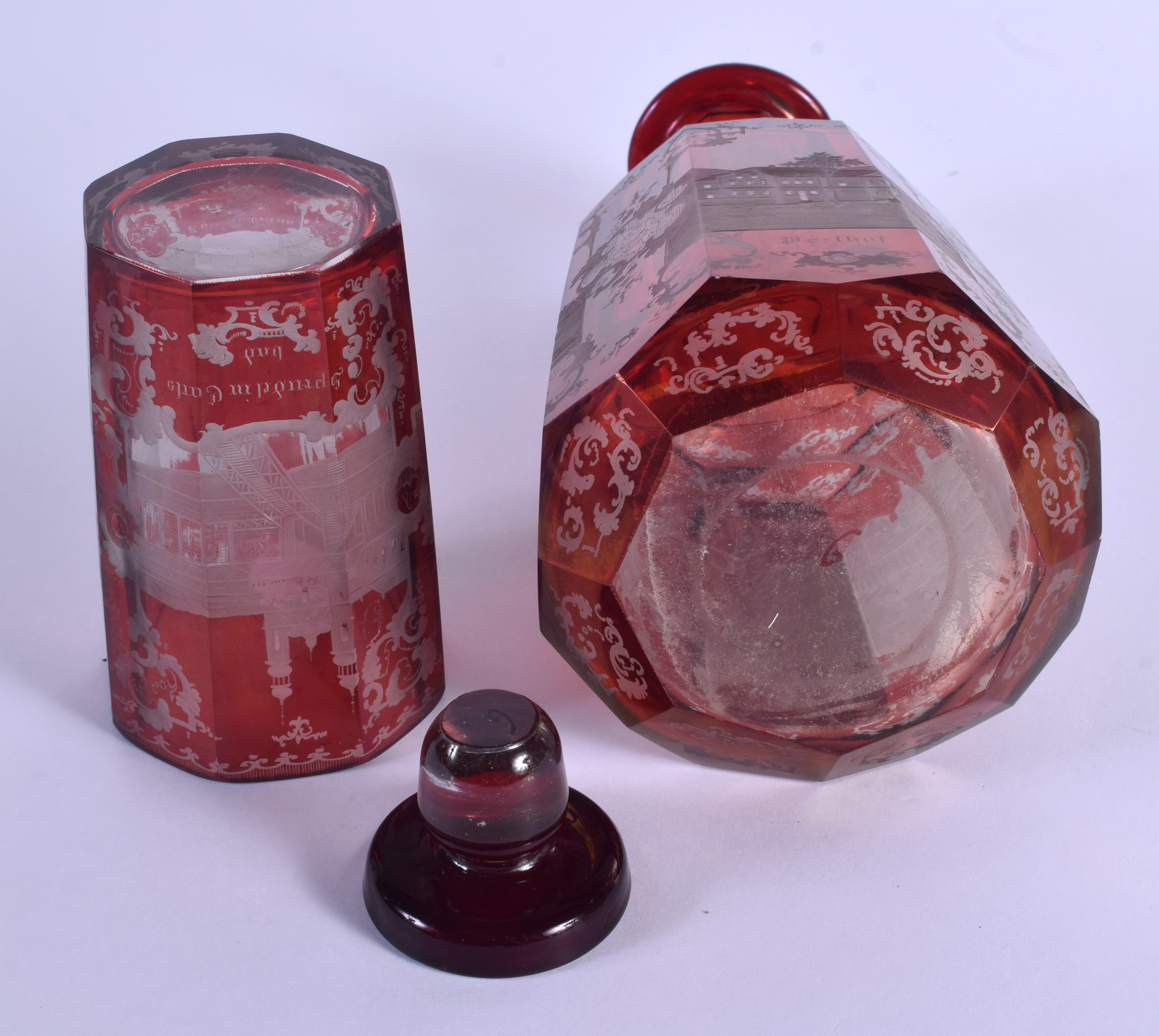 A 19TH CENTURY BOHEMIAN RUBY GLASS DECANTER AND STOPPER together with a similar beaker. 24 cm high. - Image 3 of 3