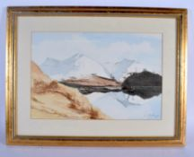 David Hathaway (20th Century) Watercolour, Mountain ranges. Image 40 cm x 27 cm.