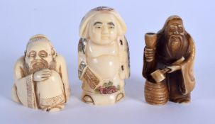 THREE EARLY 20TH CENTURY JAPANESE MEIJI PERIOD BONE NETSUKES in various forms.Largest 5.25cm high(3)