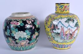 A 19TH CENTURY CHINESE FAMILLE ROSE STRAITS JAR AND COVER Qing, painted with flowers & a ginger jar.