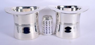 A LARGE PAIR OF SILVER PLATED TOP HAT WINE COOLERS. 18 cm x 16 cm.