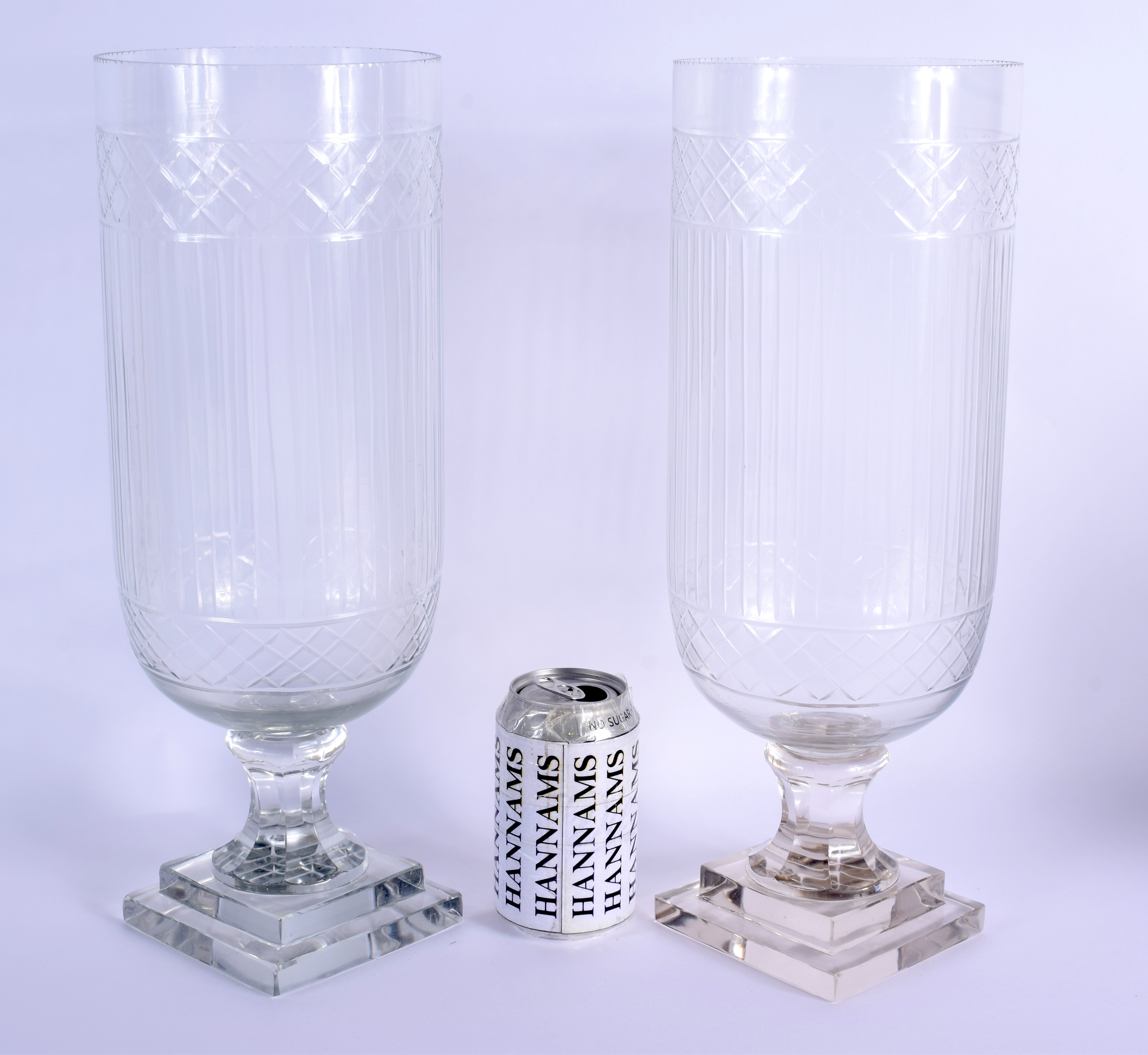 A PAIR OF EUROPEAN CELERY STORM STYLE GLASS VASES. 40 cm high.