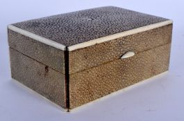 AN ART DECO SHAGREEN AND IVORY BOX. 10 cm x 8 cm.