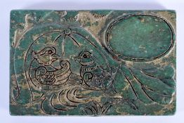 AN EARLY 20TH CENTURY CHINESE CARVED JADE INK STONE BRUSH WASHER Late Qing/Republic, carved with bir