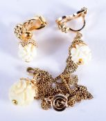 A 1920S YELLOW METAL AND IVORY NECKLACE. 4 grams.