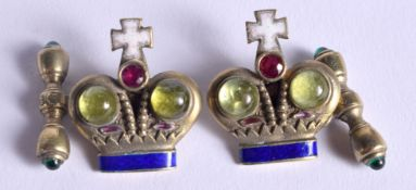 A PAIR OF CONTINENTAL SILVER JEWELLED ENAMEL CROWN CUFFLINKS. 2.75 cm wide.