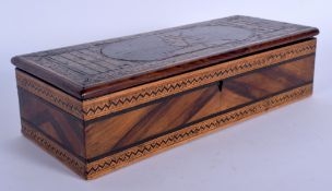 AN ANTIQUE ITALIAN SORRENTO WARE CARVED WOOD GLOVE BOX decorated with figures upon a donkey. 24 cm x