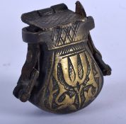 AN ANTIQUE MIDDLE EASTERN ISLAMIC BRONZE BOX. 5 cm x 5.5 cm.