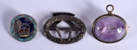THREE ANTIQUE BROOCHES. Largest 3.5 cm wide. (3)