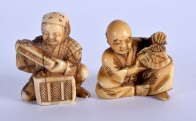 TWO 19TH CENTURY JAPANESE MEIJI PERIOD CARVED IVORY NETSUKES. 3.5 cm x 3 cm. (2)