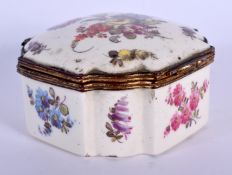 AN 18TH CENTURY EUROPEAN ENAMELLED PORCELAIN BOX painted in the Meissen style with flowers. 8 cm squ