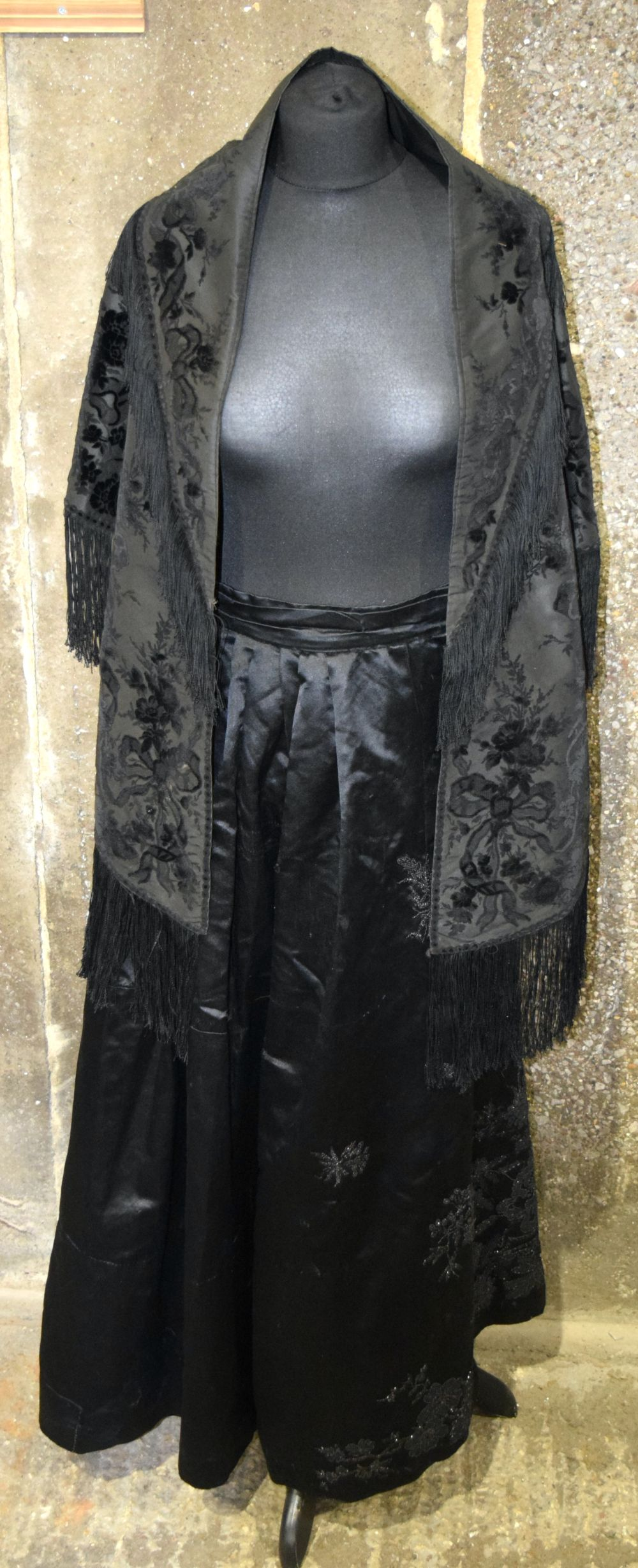 A Vintage Heavy satin skirt together with a shawl.