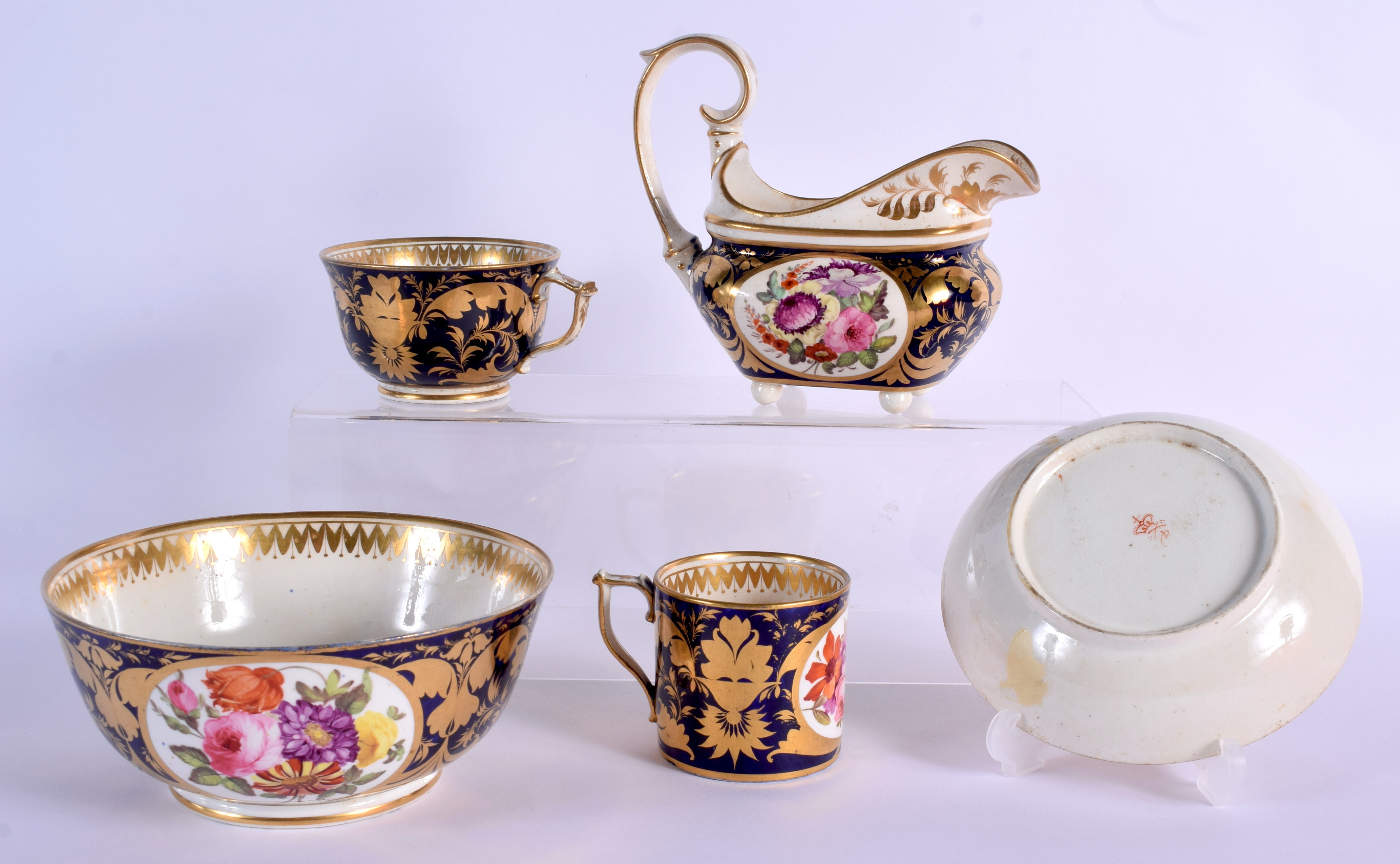 AN EARLY 19TH DERBY PORCELAIN TEAWARES including a trio, cream jug and slop bowl. Largest 12 cm diam - Image 2 of 3