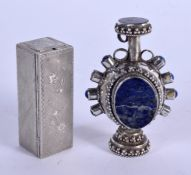 AN ITALIAN SILVER LIPSTICK HOLDER and a silver bottle. 55 grams. Largest 6.5 cm high. (2)