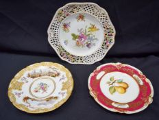 An 18th Century English porcelain open work edged plate together with two other plates largest 26cm