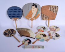 ASSORTED EARLY 20TH CENTURY JAPANESE MEIJI PERIOD FANS with bamboo handles. (qty)