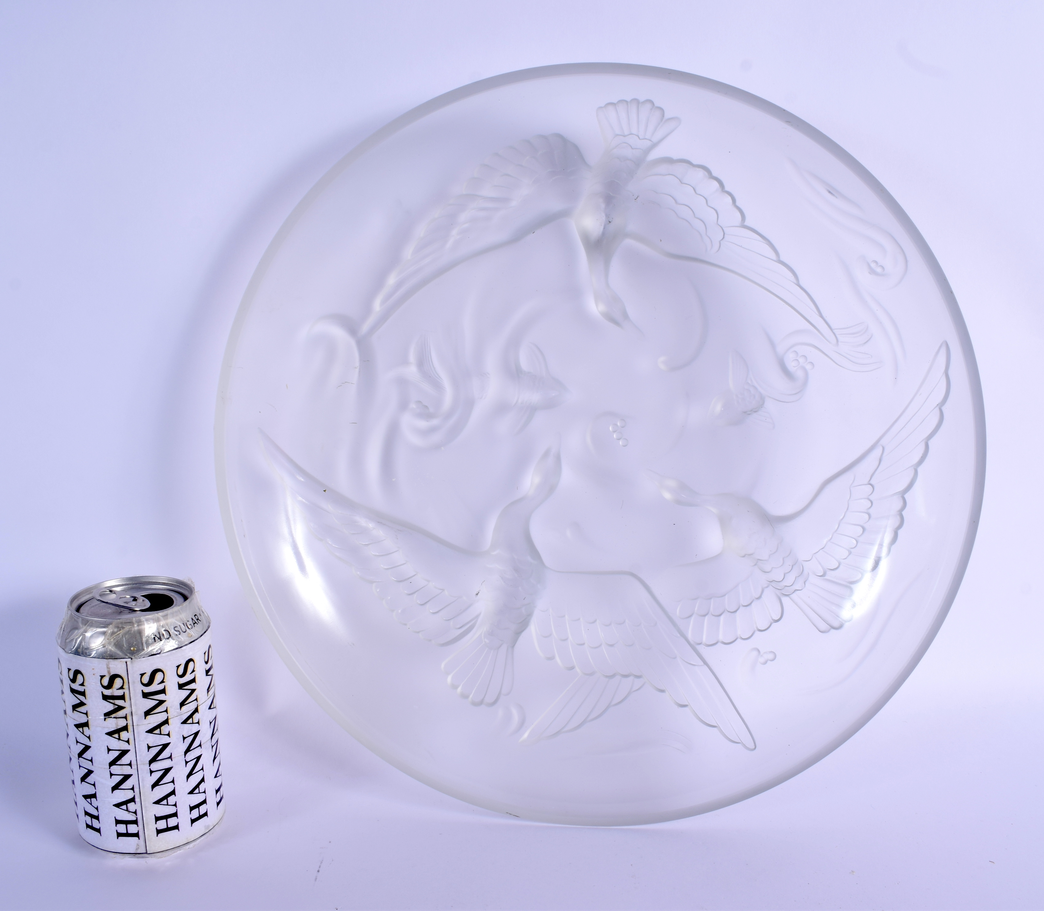 A LARGE FRENCH VERLYS MOLD LES CANARDS SAUVAGE GLASS DISH. 26 cm diameter.
