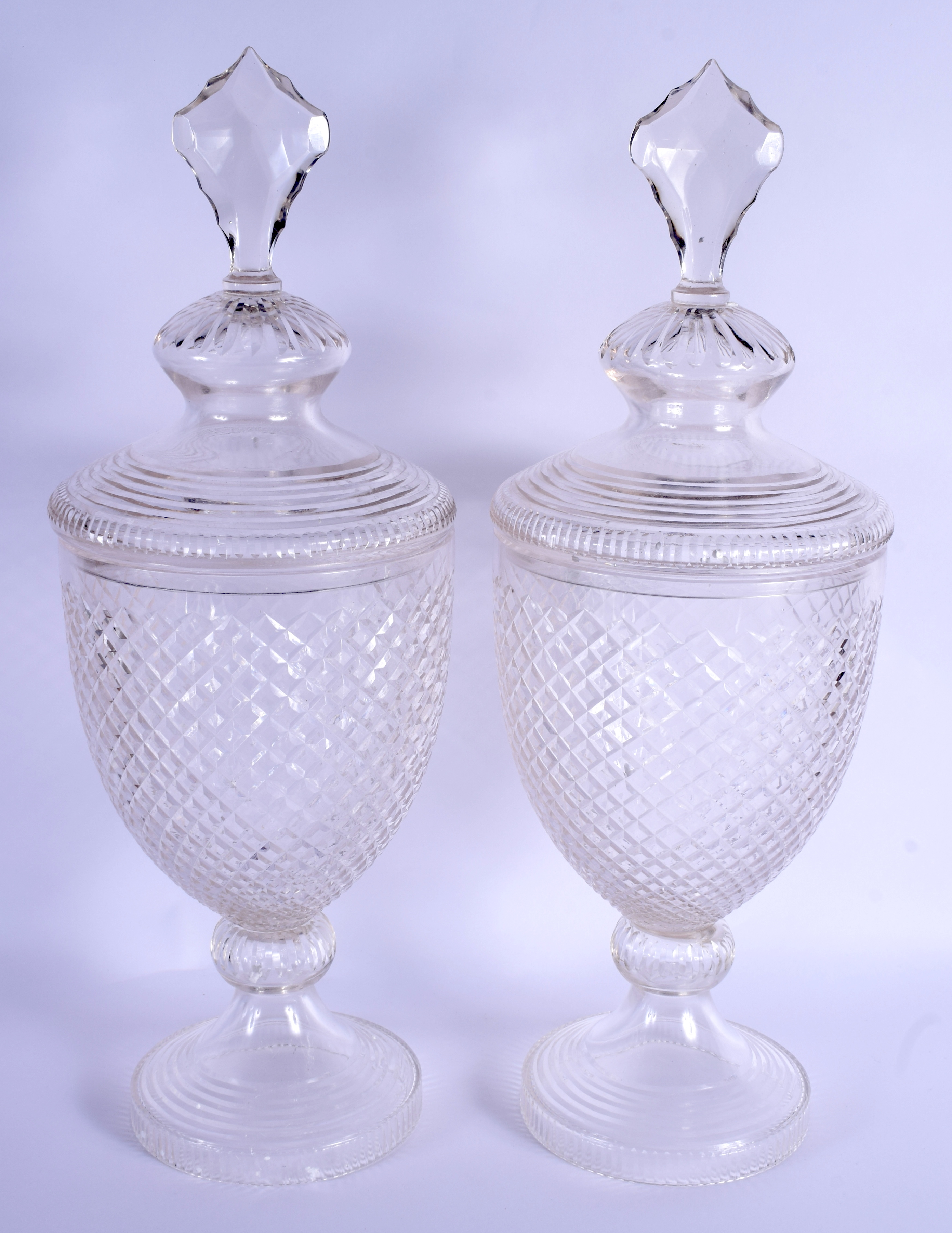 A PAIR OF CUT GLASS STORM LAMPS AND COVERS. 53 cm high. - Image 2 of 2