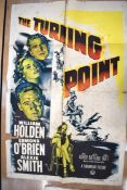 THE TURNING POINT movie poster, 1952, horizontal and vertical folds, torn at folds, stained, 105 cm