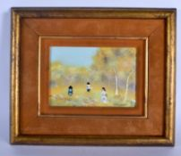 AN UNUSUAL CONTINENTAL PAINTED ENAMEL COPPER PANEL depicting figures within a tree line. Panel 15 cm