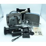 A vintage cased Pathescope projector together with a Sankyo light movie camera (2)