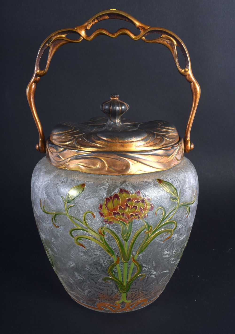 A FINE FRENCH ART NOUVEAU ENAMELLED FROSTED GLASS BISCUIT BARREL possibly by Legras, painted with st - Image 2 of 4