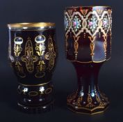 TWO ANTIQUE BOHEMIAN GLASS CUPS. Largest 17.5 cm high. (2)