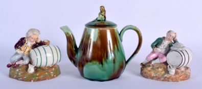 A 19TH CENTURY MINTON MAJOLICA TEAPOT AND COVER together with a pair of English porcelain inkwells i