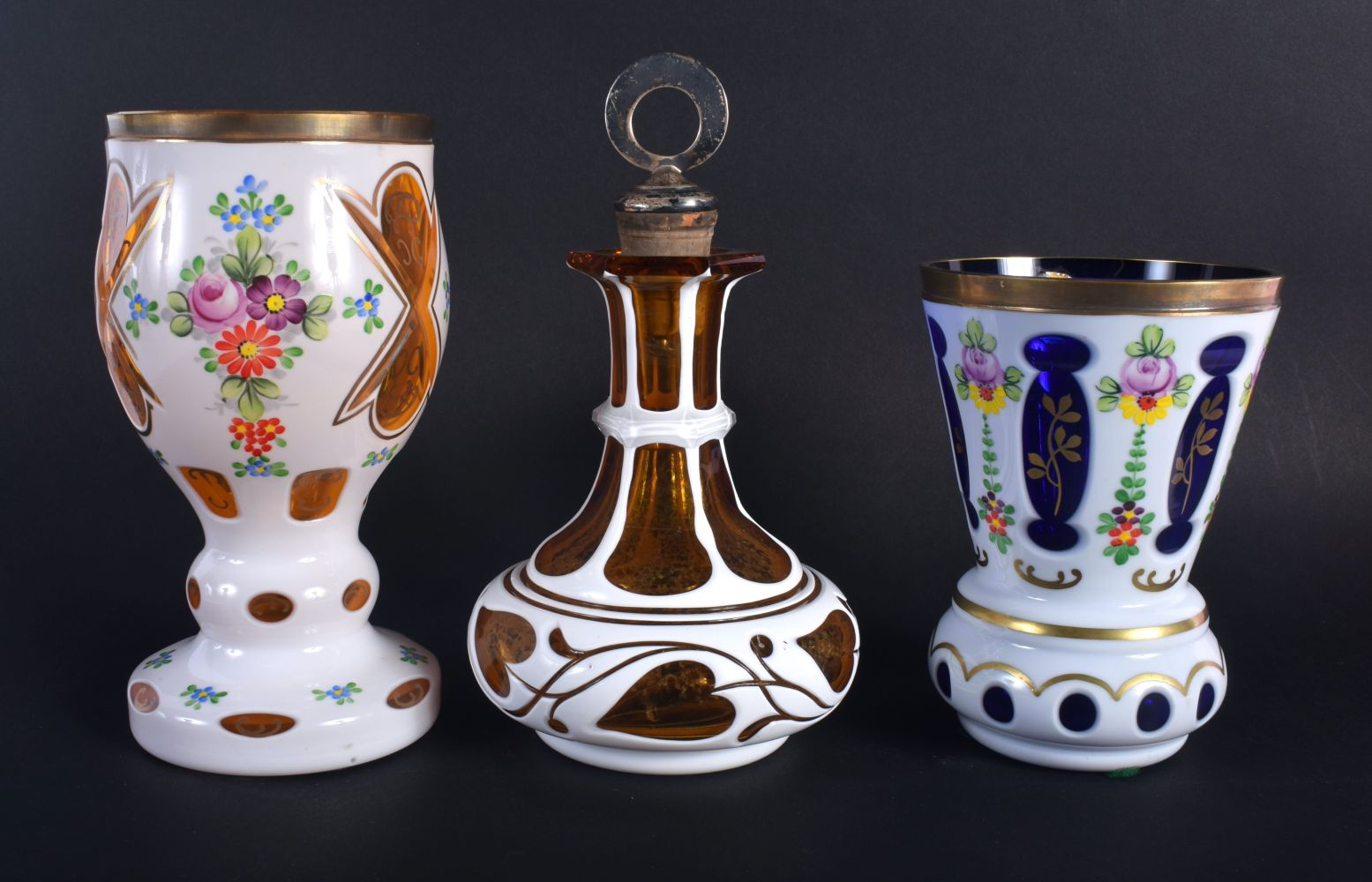 A BOHEMIAN ENAMELLED GLASS GOBLET together with two others. Largest 18 cm high. (3) - Image 2 of 3
