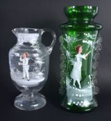 AN ANTIQUE MARY GREGORY STYLE VASE together with another smaller. Largest 30 cm high. (2)