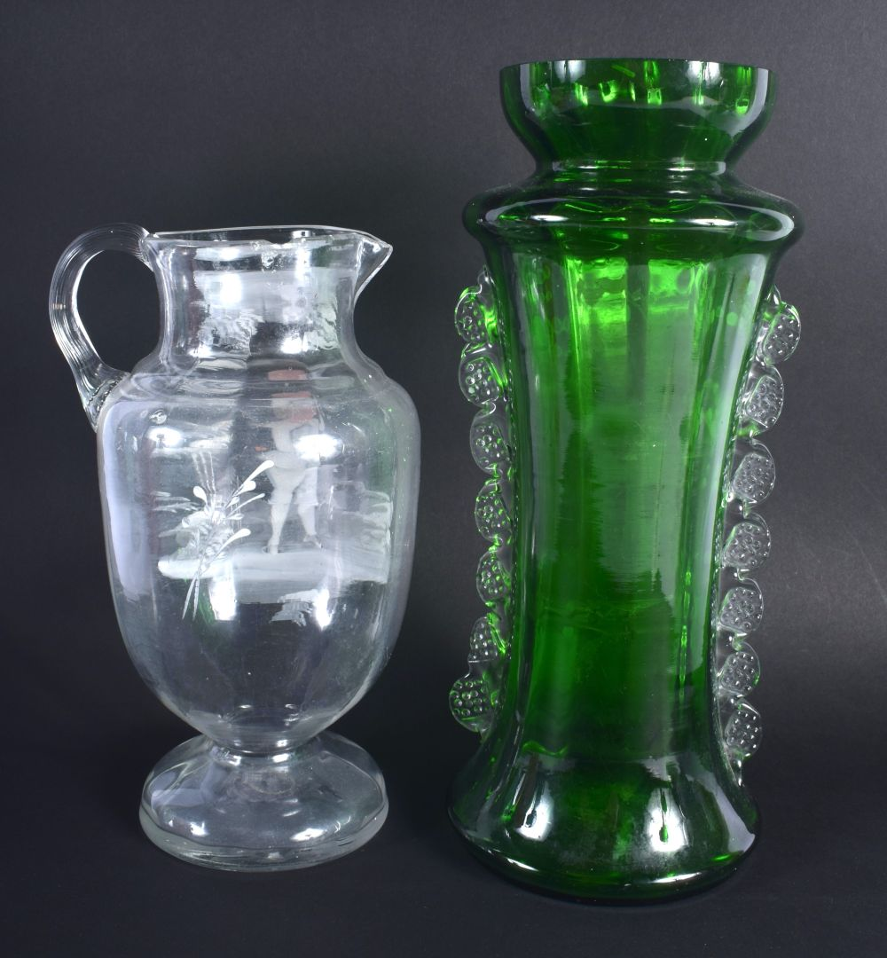 AN ANTIQUE MARY GREGORY STYLE VASE together with another smaller. Largest 30 cm high. (2) - Image 2 of 3