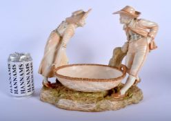 A LARGE 19TH CENTURY HADLEYS ROYAL WORCESTER BLUSH IVORY FIGURAL GROUP modelled as a boy and girl ho